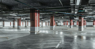 Empty underground parking background with copy space.  Stock Photos