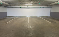 Empty underground parking background with copy space Royalty Free Stock Photos