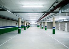 Empty underground parking garage Stock Photography