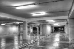 Empty underground parking garage. Black and white Stock Image