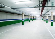 Empty underground parking garage Royalty Free Stock Photography