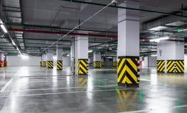 Empty underground parking garage Stock Photo