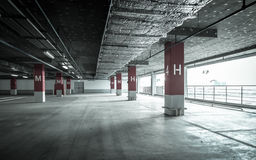 Empty underground parking garage Stock Photo