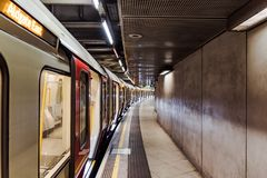 Empty underground subway at westminster train station stock image