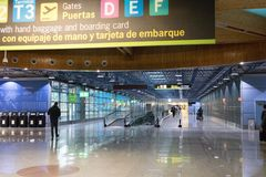 Madrid/Spain – 03.03.2019 :    Madrid underground tunnel airport informations signs. Empty underground tunnel of Madrid Airport  where passengers can see stock image