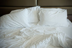 Empty Unmade Bed Royalty Free Stock Images