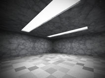 Empty urban concrete walls dark room with ceiling lights Royalty Free Stock Photography