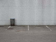 Empty Urban Parking Lot with Trash Can Stock Image