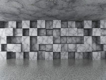 Empty urban room with chaotic concrete cubes tile wall. Architec. Ture background. 3d render illustration Stock Photos
