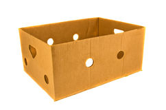 Empty used cardboard box package isolated on white Royalty Free Stock Photo