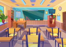 Empty vector flat cartoon school class room interior with board desk. Empty vector cartoon school class room interior with board desk vector illustration