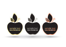 Empty vector frame apples with place for text on a black background. Apples with gold silver and bronze with a bar code on a leave Royalty Free Stock Photo