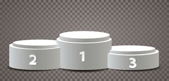 White podiums numbers. Empty vector pedestals for champions, three white podiums with numbers on transparent background Royalty Free Stock Photos