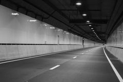 Empty vehicle tunnel before opening Stock Photo