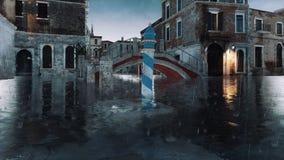 Venice street during flood Acqua Alta at rainy day 4K