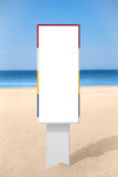 Empty vertical banner on the beach. Stock Photos