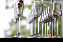 Empty very elegant wine glasses Stock Photos
