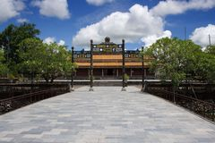 Empty view on the gate entrance in front of The Mieu Temple, Hue Imperial City, Central Vietnam. Stock Photography