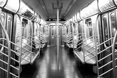 An empty view of a NYC Subway train Stock Photo