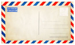 Empty vintage air mail envelope isolated on white Royalty Free Stock Images