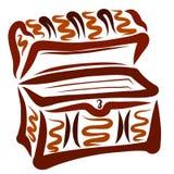 Empty vintage brown chest or casket pattern.  vector illustration