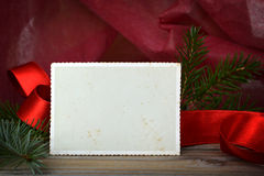 Empty vintage Christmas photo frame Stock Photo