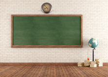 Empty vintage classroom. With green blackboard against brick wall - rendering Stock Photos