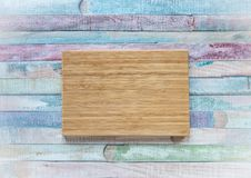 Empty vintage cutting board on planks food background concept stock photography