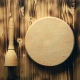 Empty vintage cutting board on planks food background concept. Empty vintage cutting board on wooden planks food background concept Stock Photography