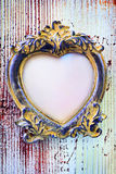 Empty vintage frame in form of a heart. Valentine background - empty vintage frame in form of a heart Stock Photos