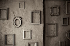 Empty Vintage  Frames on a  Grungy Background Stock Photos
