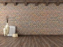 Empty vintage interior with brick wall Stock Photos