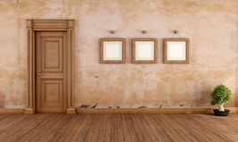 Empty vintage interior with wooden door Royalty Free Stock Photography