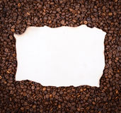 Empty vintage paper on coffee beans background Stock Photography