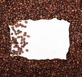 Empty vintage paper on coffee beans background Stock Photo