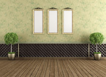 Empty vintage room. Empty vintage interior with upholstery leather panel and old green wall - rendering Royalty Free Stock Image