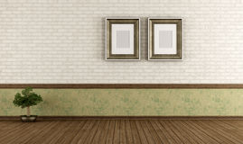 Empty vintage room with brick wall Royalty Free Stock Photos
