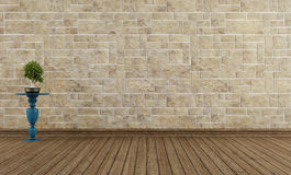 Empty vintage room stone wall Royalty Free Stock Photo