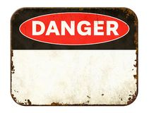 Free Empty Vintage Tin Danger Sign On A White Background Royalty Free Stock Image - 159254416