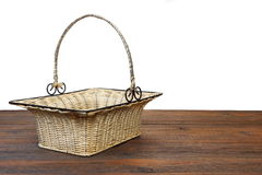 Empty Vintage Wicker Basket  On  Wooden Table Isolated Royalty Free Stock Images