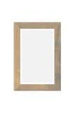 Empty vintage wood photo frame isolated on white Royalty Free Stock Images