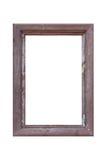 Empty vintage wood photo frame isolated on white Royalty Free Stock Image
