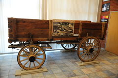 Empty vintage wooden wagon in the lobby at the Tunica Museum in North Mississippi. Stock Images