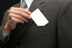 Empty visiting card. The man with an empty visiting card royalty free stock image