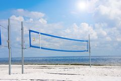 Empty volleyball court on the beach on a sunny day stock photography