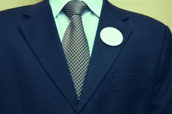 Empty vote button. Politician with empty badges, Vote concept Stock Images