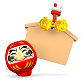 Empty Votive Picture And Smile Daruma Doll Stock Photo