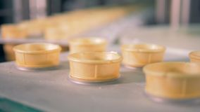 Empty wafer cones moving on conveyor belt at ice-cream factory. stock video footage