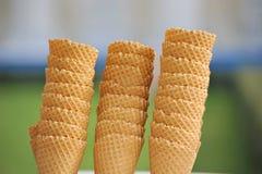 Empty waffle cones for ice cream Stock Photos