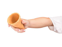 Empty waffle Cup in hand Royalty Free Stock Photo